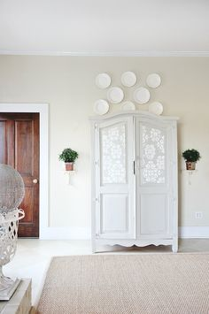 Hutch in guest bedroom- great paint color Five Tips to Get the Farmhouse Look