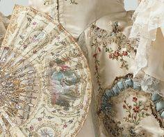 *Rococo Revisited - Fan and Robe, Sackback gown, Dress, France,. Antique Fans, Vintage Fans, Vintage Love, Vintage Beauty, Vintage Prints, Marie Antoinette, Vintage Outfits, Vintage Fashion, Vintage Couture