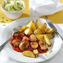 Currywurst mit Wedges
