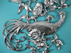 """Mid Century Bird Wall Art Hanging Syroco Shabby Chic Measures 28 3/4"""" x 17"""" Flowers Leaves Upcycled Silver"""