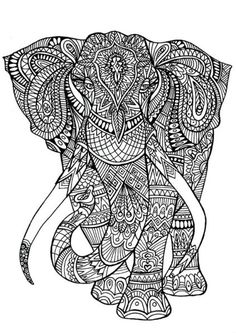 Adult Coloring Pages: Elephant 3
