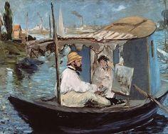 Edouard Manet, Monet in his Floating Studio, 1874