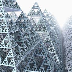 Sierpinski trangles by *KrzysztofMarczak dimensional repetition, fractals Fractal Design, Fractal Art, Geometric Tattoo Design, Abstract Geometric Art, Abstract Landscape, Fractal Geometry, Sacred Geometry, Affine Transformation, Geometry Architecture