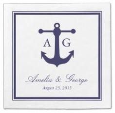 Nautical & Beach Wedding Planning, Theme Ideas, Decor & Supplies >> Nautical Navy Wedding Cocktail Napkins