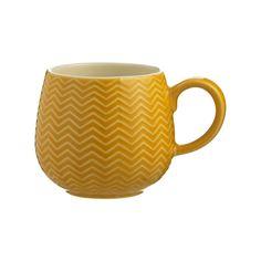 Chevron, Emboss, Contemporary Style, Stoneware, Mugs, Microwave, Dishwasher, Kitchen, Beauty
