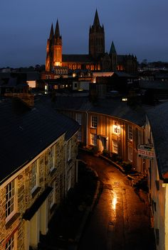 Truro Cathedral at Dusk, Cornwall, England, living 4 miles away now. Cornwall England, Truro Cornwall, Stonehenge, Places To Travel, Places To See, Truro Cathedral, Places In England, England And Scotland, Temples