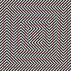 Illusion Squares - the red squares look crooked, but in fact they are perfectly squares Op Art, Cool Optical Illusions, Optical Image, Eyes Game, Mind Benders, Concrete Art, Illusion Art, Street Art, Mindfulness