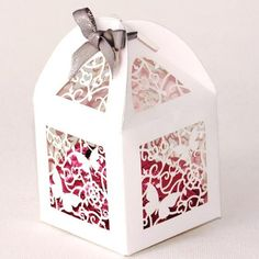 Lantern Style Favour Box in White Small Butterfly Design Wedding Favour Boxes