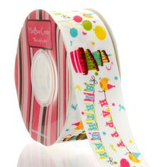 "HairBow Center | 1.5"" Happy Birthday Grosgrain Ribbon [$3.40] Available in 5 or 25yds"