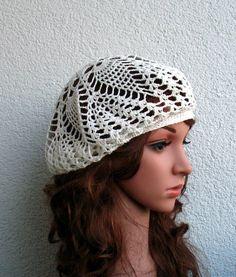 ece2e503d88 Crochet Summer beret Womens hat milky white Linen beret hat Women Summer hat  Women linen Slouchy Beret Tam Hat White