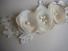 Wedding Dress Belt, Champagne Wedding Sash, Ivory Lace Bridal Sash, Wedding Belts and Sashes, Pearl Rhinestones, Floral Bridal Belt by FloroMondo on Etsy https://www.etsy.com/listing/496307358/wedding-dress-belt-champagne-wedding