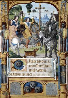 La rencontre des trois morts et des trois vifs (c. 1490). [x]  > Illuminator: Maître du manuscrit Latin 13297 de la BN.