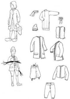 1675 - 1760 New France Boys Pattern: Four Sizes the variations for 1750-1760 are perfect for Feast. Shirt, short vest, waistcoat, breeches, cap and instructions for cravat and handkerchief; includes historical notes.