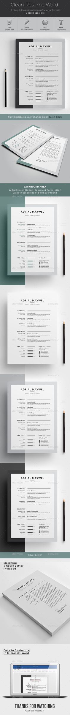 Resume/CV Word Template is a Minimal, bold, Dynamic and Professional Resume Template - with FREE cover letter - Easy to edit and customize | Download: https://graphicriver.net/item/resume/19040727?ref=jpixel55