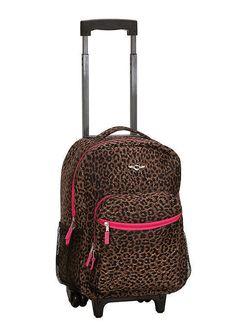 Backpack Rolling Rockland School Bag Carry On 17 in Bookbag Pink Leopard Print