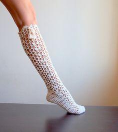 PDFpattern - Knee high Sokcs, legwarmers, lace slippers crochet boot socks , DIY tutorial - dance, yoga, wedding, bride on Etsy, $4.90