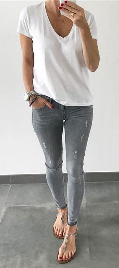 #fall #outfits White Tee + Ripped Skinny Jeans