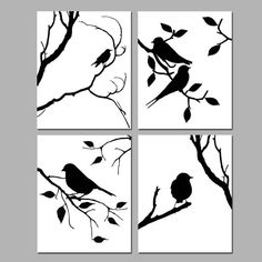 Birds of a Feather Wall Art Quad - Set of Four 8x10 Coordinating Nature Prints - Choose Your Colors - Shown in Black and White