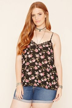 Forever 21+ - A lightweight woven cami featuring a floral print, V-neckline with embroidered lace trim, and adjustable straps.