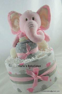 Elephant diaper cake  Girl diaper cake  Baby shower