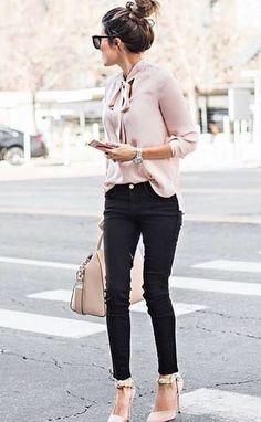 Bun, silk blouse, jeans and heels