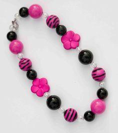 Pink and Black Zebra II Chunky Necklace Ready to by ittybittylydi, $21.99