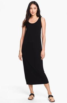 Looks very promising. One review says you can walk in it. (Fancy that!) Others say shapeless, needs a belt. Looks like it would be hard to find a bra that wouldn't show.   Eileen Fisher Scoop Neck Sleeveless Dress | Nordstrom