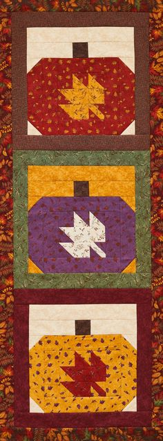 Turn pieced pumpkin blocks into a seasonal quilt using a rich palette of fall colors. Fall Sewing Projects, Quilting Projects, Quilting Ideas, Sewing Ideas, Sewing Crafts, Strip Quilts, Mini Quilts, Quilt Blocks, American Patchwork And Quilting