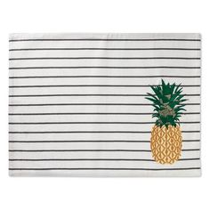 Protect your table with the fun look of the Yellow Kitchen Textiles Placemat from Threshold. This striped pineapple placemat perks up your dinner plates and has a fun casual appeal.
