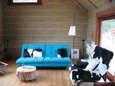 Log cabin interior - for the basement.  Minimalistic/ modern/ mid-century even.
