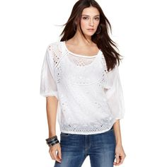 Lucky Brand Jeans Top, Three Quarter Sleeve Embroidered Peasant Scoop Neck