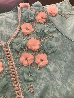 Luxury gray lace fabric hand made pearl beads flowers Kurti Embroidery Design, Bead Embroidery Patterns, Embroidery On Clothes, Couture Embroidery, Hand Embroidery Stitches, Embroidery Fashion, Silk Ribbon Embroidery, Hand Embroidery Designs, Embroidery Dress