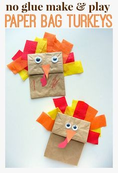 turkey craft made with double stick tape - so cute for kids!