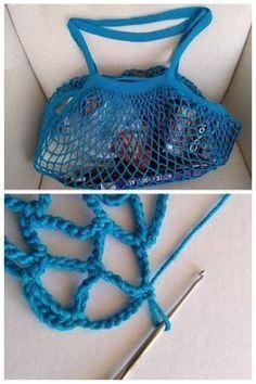 Sieťovka sa opäť vracia na výslnie. Tu je postup ako si uháčkovať svoju vlastnú, jedinečnú a len vašu:) Autorka postup: Dasa_ Crochet Market Bag, Crochet Tote, Crochet Handbags, Crochet Purses, Free Crochet, Crochet Bikini, Knit Crochet, Spa Crochet Patterns, Crochet Squares Afghan