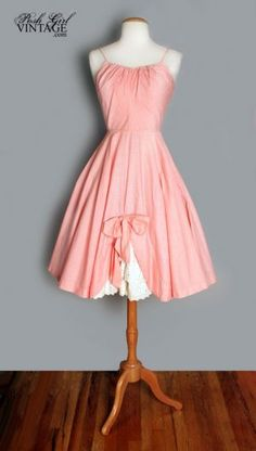 1950s Peach Check Gingham Tea Length Dress