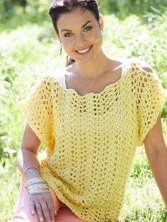 Crochet Scalloped Top | Yarn | Free Knitting Patterns | Crochet Patterns | Yarnspirations