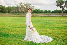 Rustic, Country Bridal Portrait with Lavender and Pink Wedding Bouquet with Allure Romance Wedding Dress | Tampa Wedding Photographer Rad Red Creative