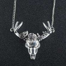 SALE $2.68 - Fashion jewelry Gothic vintage stlyle Steampunk Inverted Pentagram Pan God Skull Goat Head Black Rose necklace talismans pendant