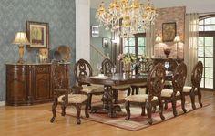 McFerran Home Furnishing, McFerran 7 Pcs Cherry Double Pedestal Dining Set D6004 For $1459