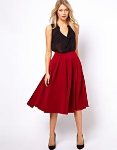 ASOS Full Midi Skirt with Box Pleats