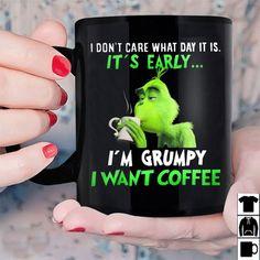 Grinch I'm Grumpy I Want Coffee Christmas Gift Black Ceramic 11 oz. Coffee Mug Disney Coffee Mugs, Best Coffee Mugs, Funny Coffee Mugs, Coffee Humor, Funny Mugs, Tea Mugs, Coffee Shop, Melitta Coffee Maker, Grinch Christmas