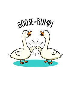 'Goose-bump Animal Pun' Sticker by punnybone - Beauty Black Pins Funny Food Puns, Punny Puns, Cute Puns, Funny Cute, Funny Jokes, Hilarious, Tgif Funny, Funny Weekend, Weekend Quotes