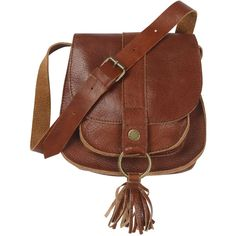 3dfd8df58628 Leather Tassle Cross Body Bag - Polyvore Brown Crossbody Purse