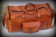 Men's Vintage Brown Leather Duffle Bag Yoga Gym Luggage Weekender Travel Bags