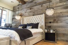 Master Bedroom on headboard wall.Tobacco Barn Grey Wood Wall Covering – Master Bedroom - Want this in my Master Bedroom - one full wall. love the chandeliers also! Farmhouse Master Bedroom, Master Bedroom Design, Home Bedroom, Bedroom Decor, Bedroom Ideas, Bedroom Rustic, Bedroom Furniture, Bedroom Designs, Master Bedrooms