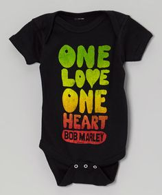 Black Bob Marley One Love Bodysuit - Infant by Zion Rootswear #zulily #zulilyfinds