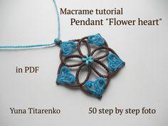 "Macrame tutorial. Pendant ""Flower heart"", Makramania"
