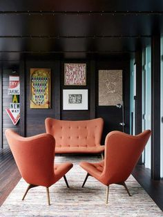 R160 armchairs and setee designed by Grant Featherston in 1951