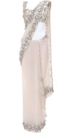 Ivory white - blush saree by Deepti Pruthi https://www.facebook.com/pages/Deepti-Pruthi/100695343350027