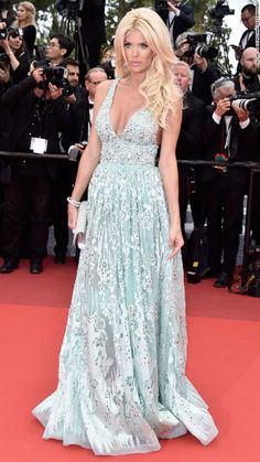Victoria Silvstedt in Bejeweled Blue - Wedding Dress Inspiration From the Cannes Red Carpet - Photos Celebrity Red Carpet, Celebrity Dresses, Celebrity Style, Floor Length Gown, Blue Wedding Dresses, Victoria Dress, Red Carpet Dresses, Cannes Film Festival, Royals